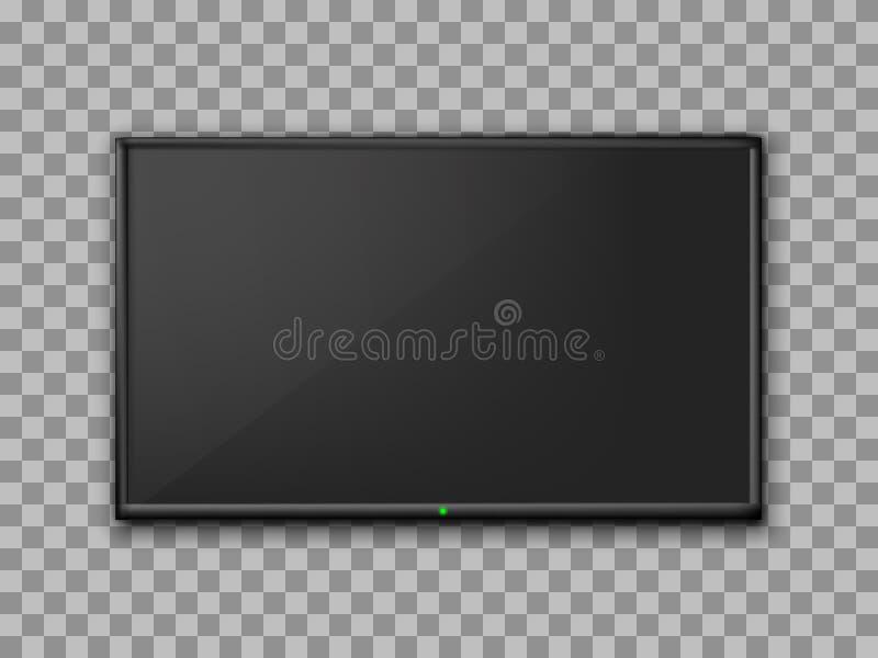 现实电视屏幕 空的电视框架透明背景 现代时髦的lcd显示器,带领了类型 空白的电视模板 库存例证