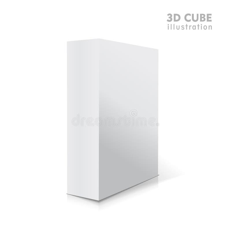 现实白色传染媒介打开了与阴影的空白的3d箱子例证 皇族释放例证