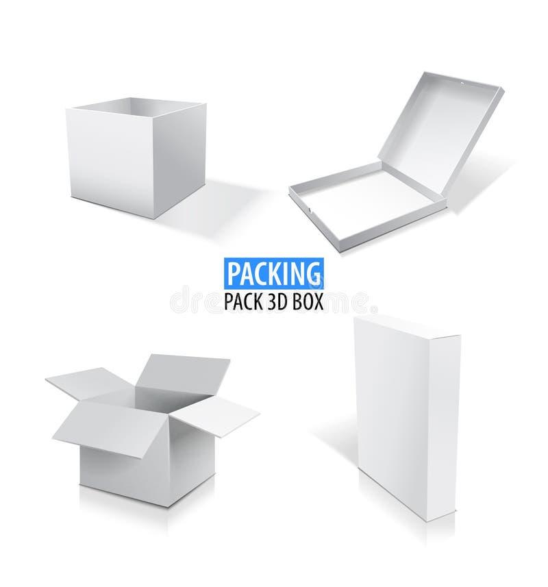 现实白色传染媒介打开了并且关闭了与阴影的空白的箱子集合例证 向量例证