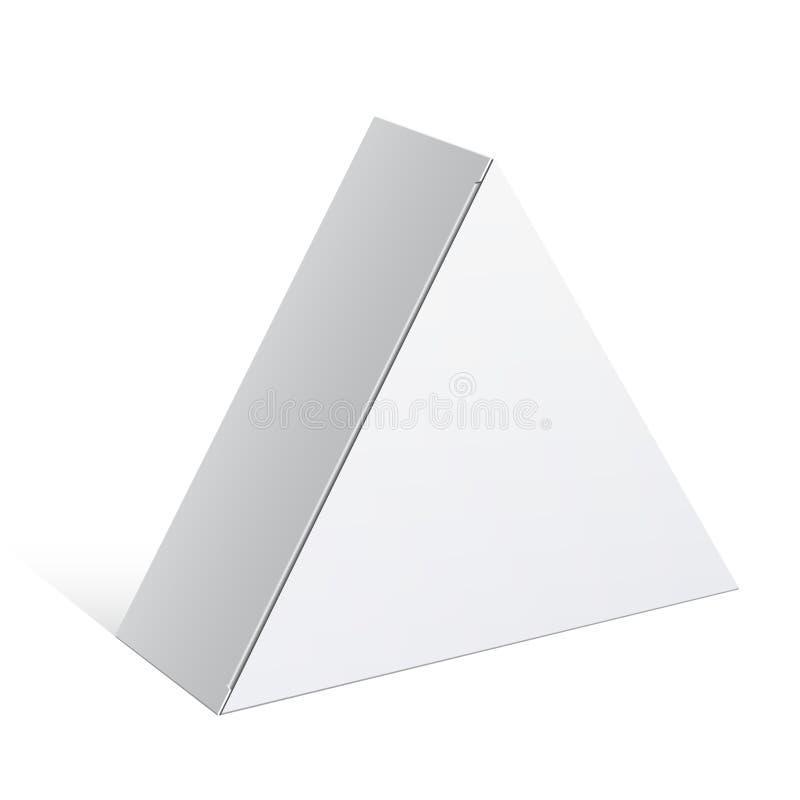 现实白色包裹三角形状箱子 皇族释放例证