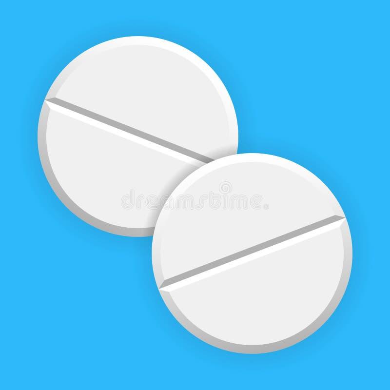 现实白色在背景隔绝的药片和片剂 库存例证
