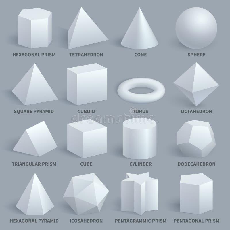 现实白色基本的3d形状传染媒介集合 向量例证