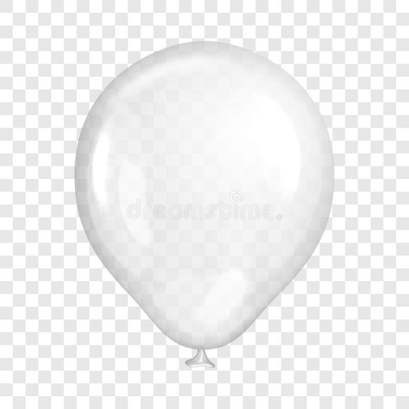 现实白色气球,在透明背景 皇族释放例证