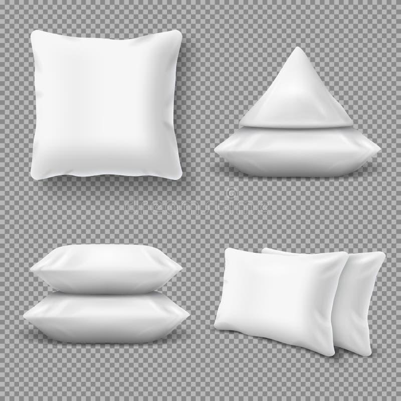现实白色舒适的枕头,与自然羽毛的家庭坐垫 卧具纺织品的传染媒介大模型 皇族释放例证