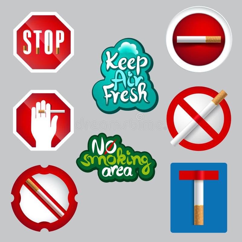 现实禁烟象集合 库存例证