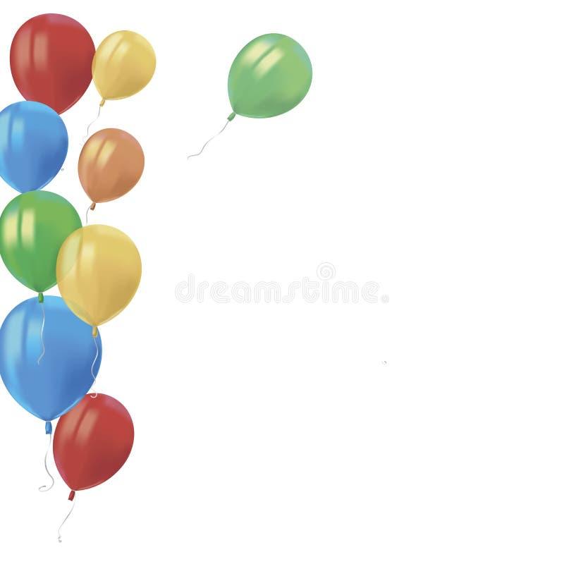 现实空气飞行五颜六色的气球的构成与在白色背景反射隔绝 Birthd的欢乐装饰元素 向量例证