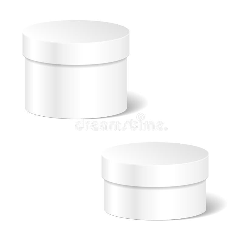 现实空白的白色产品包裹箱子嘲笑设置对Adverti 向量例证