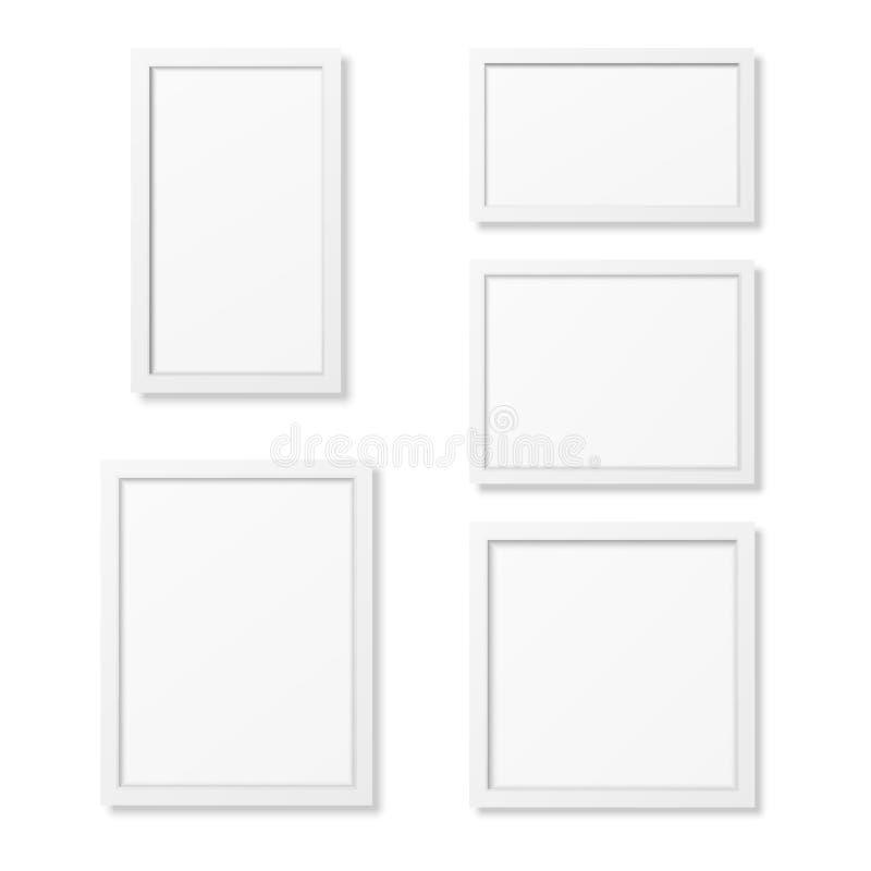 现实空白的画框模板在白色背景设置了 库存例证