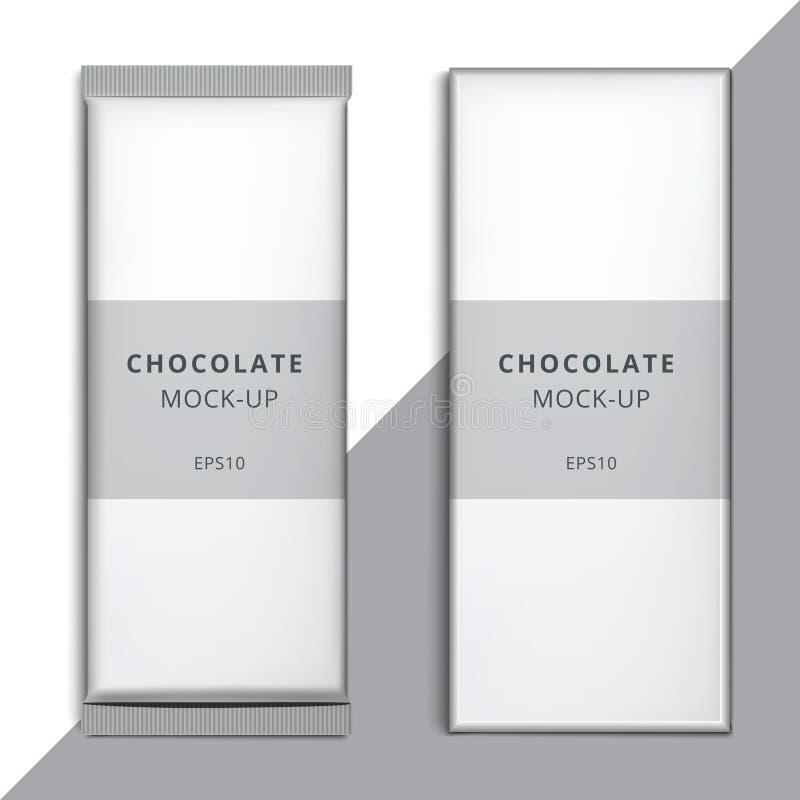 现实空白3D巧克力块模板设计 Choco packagin 皇族释放例证