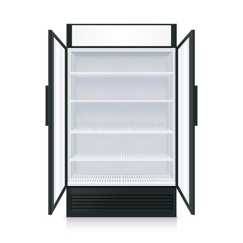 现实空的商业冰箱 库存例证