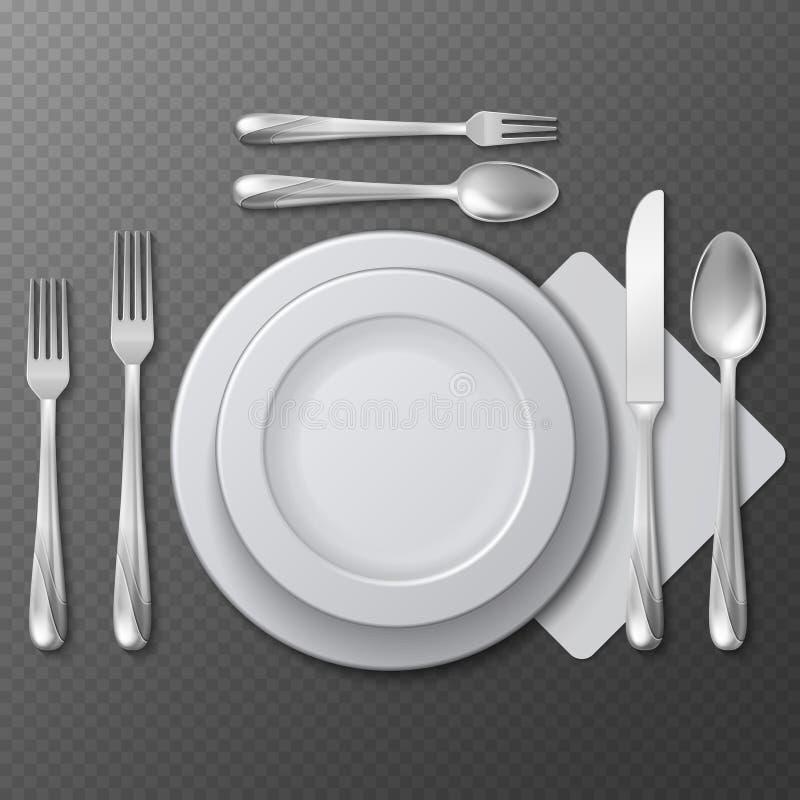 现实空的圆的板材、瓷盘、钢叉子、匙子和刀子在桌上导航例证 库存例证