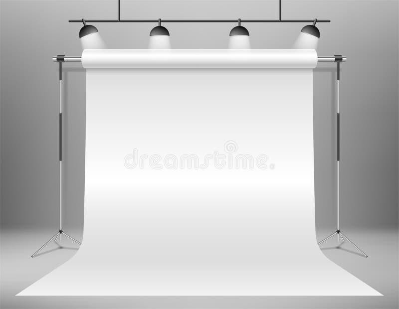 现实空的白色照片演播室背景模板 摄影师演播室与聚光灯的背景立场 向量 向量例证