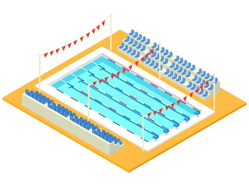 现实等量体育水池 向量例证