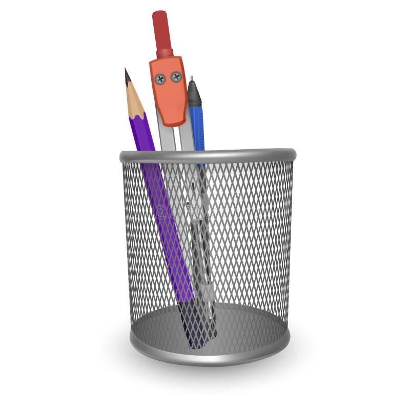 现实简单的铅笔、笔和制图圆规、办公室和文具在篮子在白色背景,传染媒介例证 库存例证