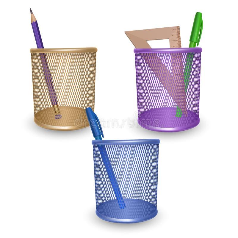 现实简单的铅笔、统治者、绿色和蓝色笔、办公室和文具在篮子在白色背景,传染媒介例证 向量例证