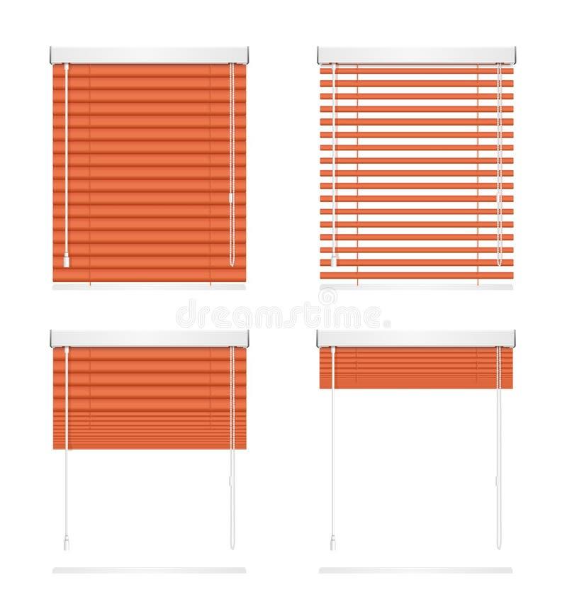 现实红色窗口百叶窗路辗关闭窗帘集合 向量 向量例证