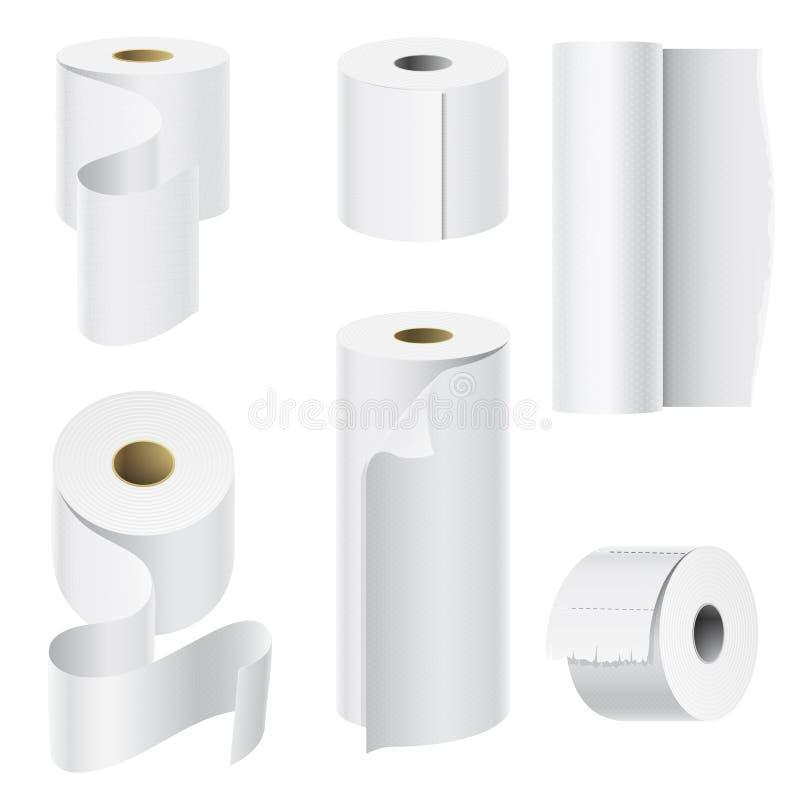 现实纸卷嘲笑设置的被隔绝的传染媒介例证空白白色3d包装的洗碗布模板 库存例证