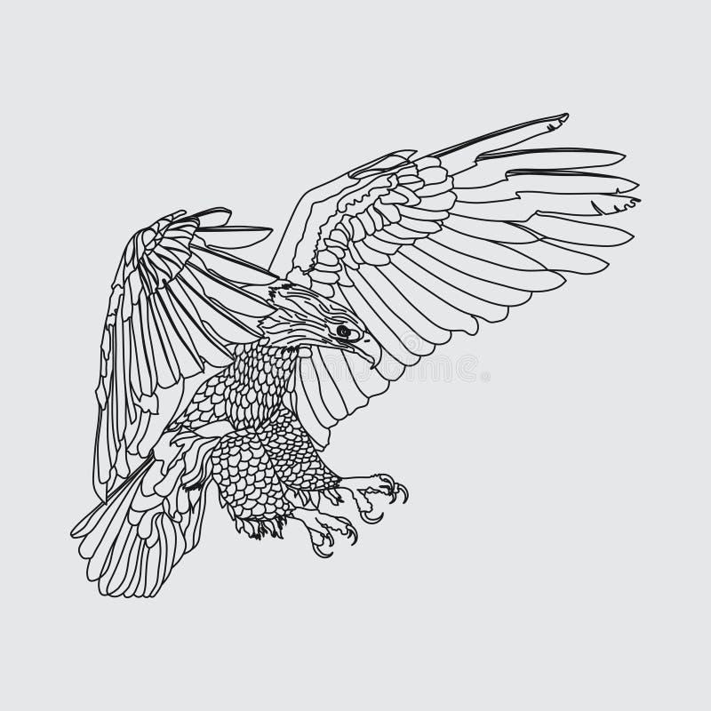 现实老鹰高昂老鹰,捉住的牺牲者,freedo的标志 库存例证