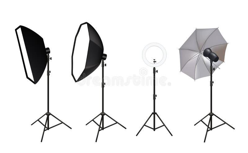 现实聚光灯 演播室softboxes的照片录影辅助部件聚光生动的轻的亮光焕发作用传染媒介 皇族释放例证