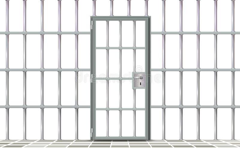 现实背景监狱铁内部 现代灰色门牢房的酒吧 横幅传染媒介详细的例证金属格子 向量例证