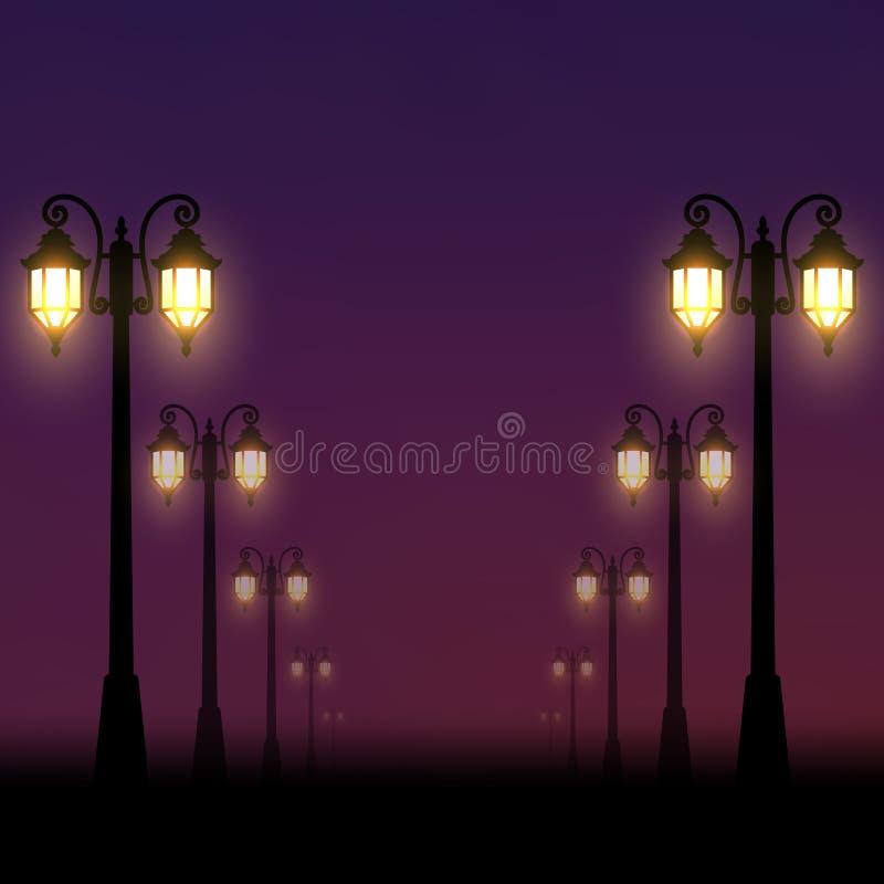 现实背景 晚上街道由沿胡同的灯笼点燃了 库存例证