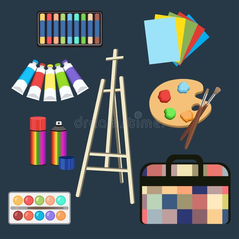 现实艺术供应,设置了艺术材料 画架、柔和的淡色彩、油漆在管,水彩、调色板和刷子,喷漆 向量例证