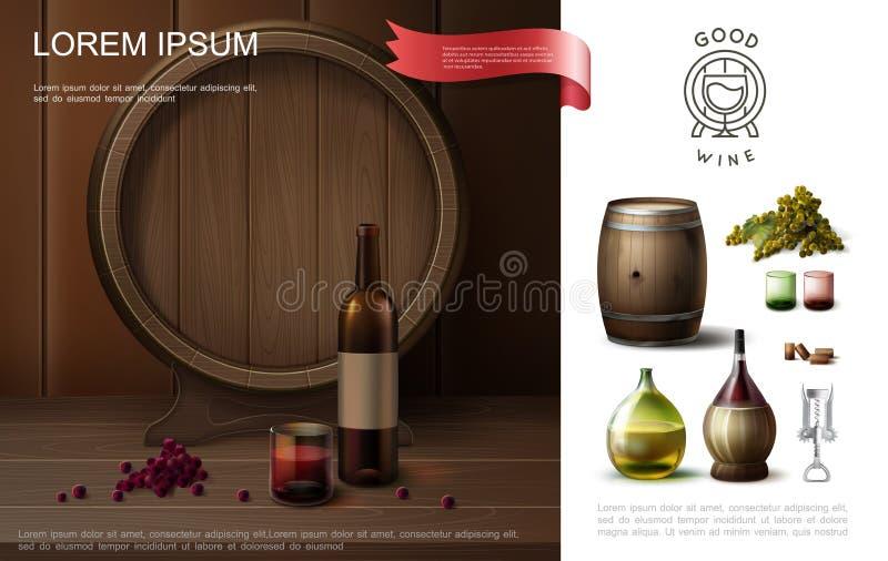 现实葡萄酒酿造五颜六色的构成 向量例证