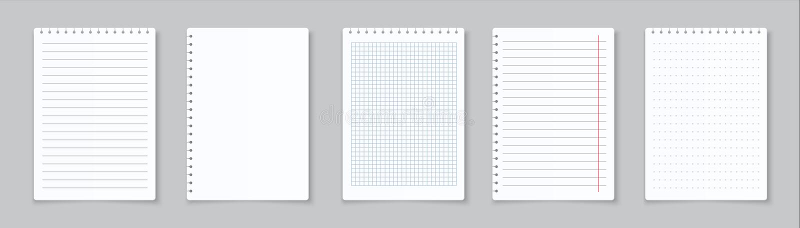 现实被排行的便条 家庭作业和锻炼的空白的栅栏的笔记本纸 与线的传染媒介纸板料和 皇族释放例证