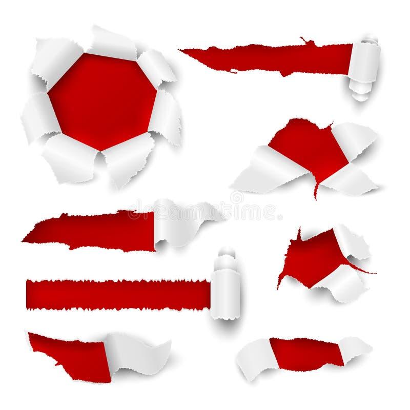 ?? 现实被撕毁的边缘裂口白色板料贴纸销售标记增进纸板孔滚动页 被剥去的传染媒介 皇族释放例证