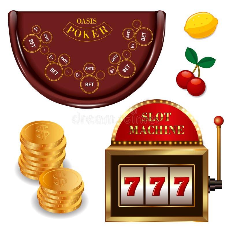 现实被设置的赌博娱乐场网络游戏 向量例证