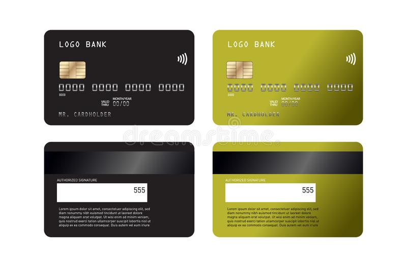 现实详细的信用卡设置了有五颜六色的抽象设计背景 信用借记卡mockupn 库存例证
