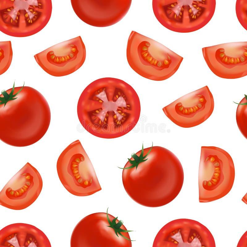 现实详细的红色蕃茄和段零件无缝的样式背景 向量 向量例证