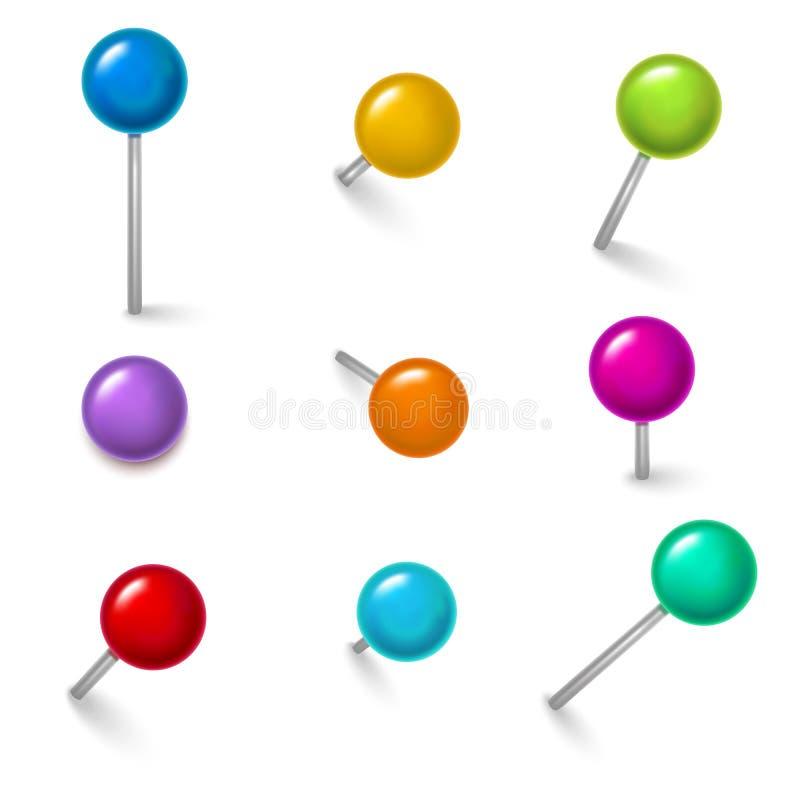 现实详细的3d五颜六色的被设置的推挤别针不同的角度 向量 库存例证