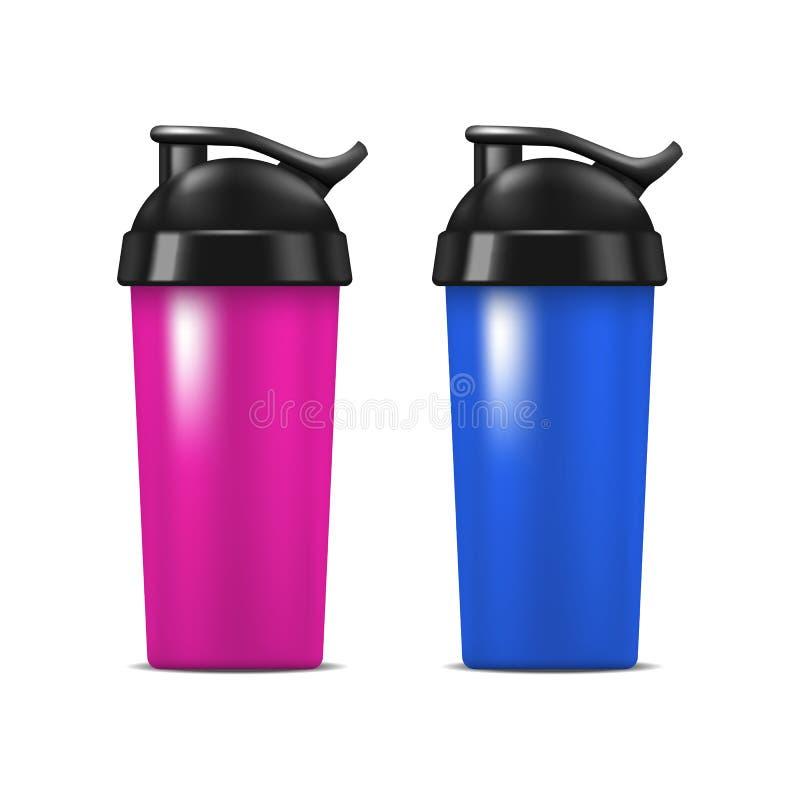 现实详细的3d体育营养饮料瓶集合 向量 皇族释放例证