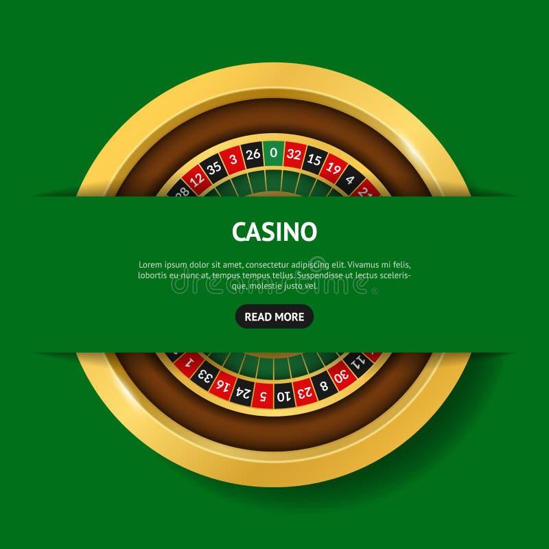 现实详细的3d回合赌博娱乐场轮盘赌横幅卡片 ?? 库存例证
