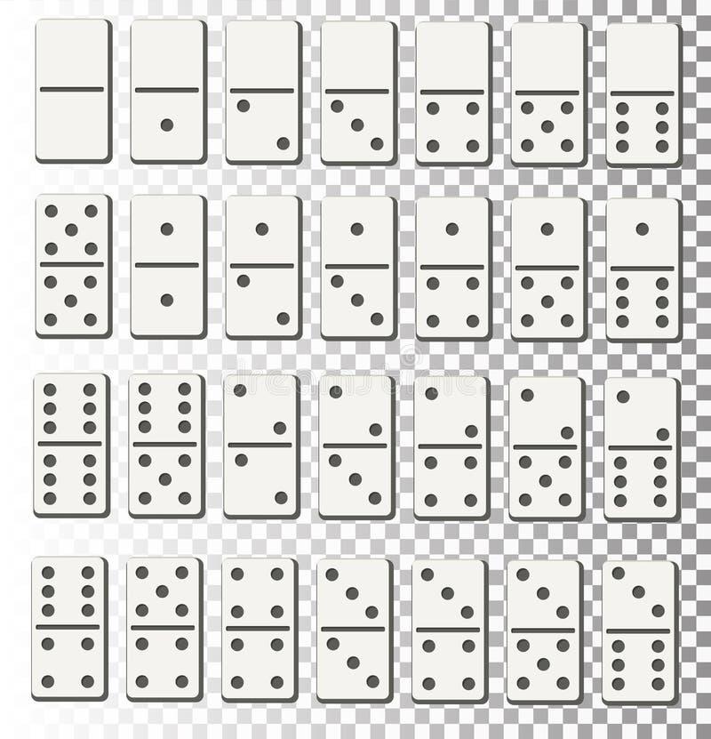 现实详细的3d多米诺去骨玩具和赌博的全套标志 向量例证