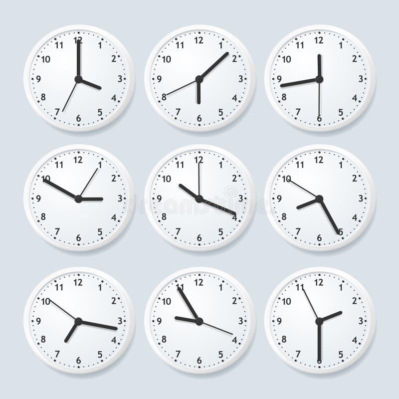 现实详细的3d时钟设置了与另外时间 向量 库存例证