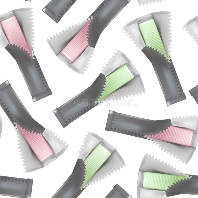 现实详细的3d泡泡糖黏附无缝的样式背景 向量 向量例证
