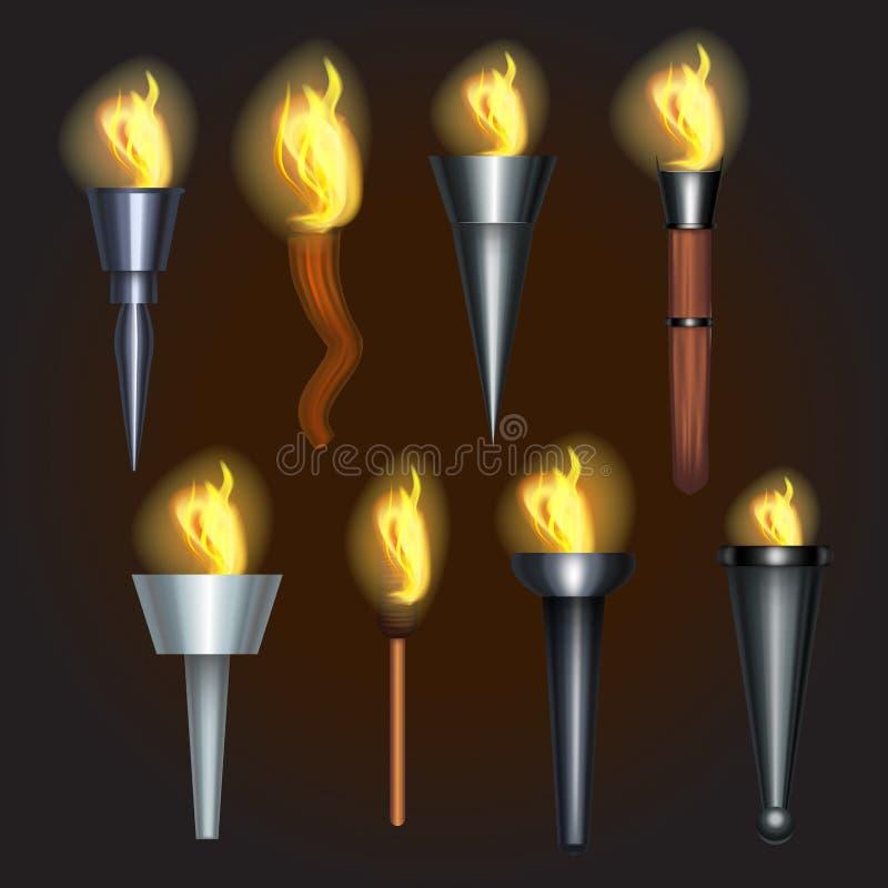现实详细的3d火炬火焰集合 向量 向量例证