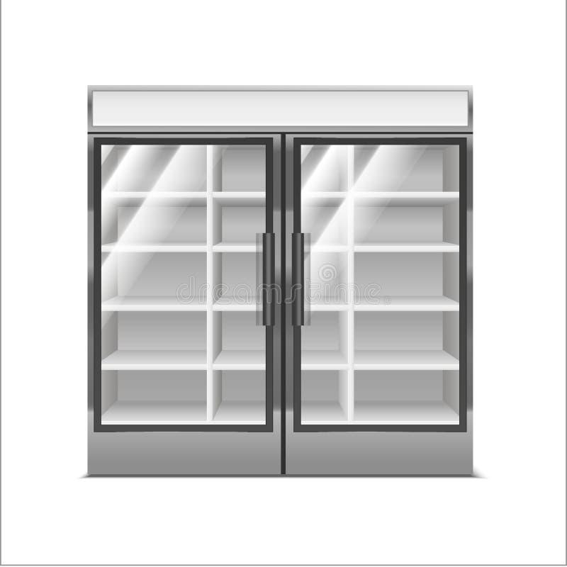 现实详细的3d灰色超级市场冷冻机 ?? 库存例证