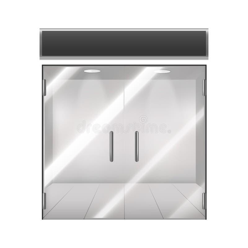 现实详细的3d玻璃透明门 向量 向量例证