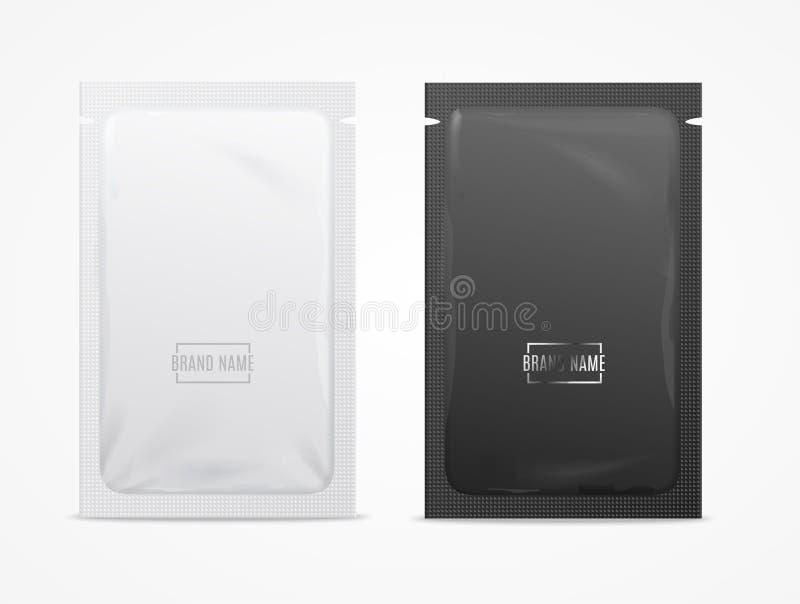 现实详细的3d白色和黑一次性箔香囊 向量 库存例证