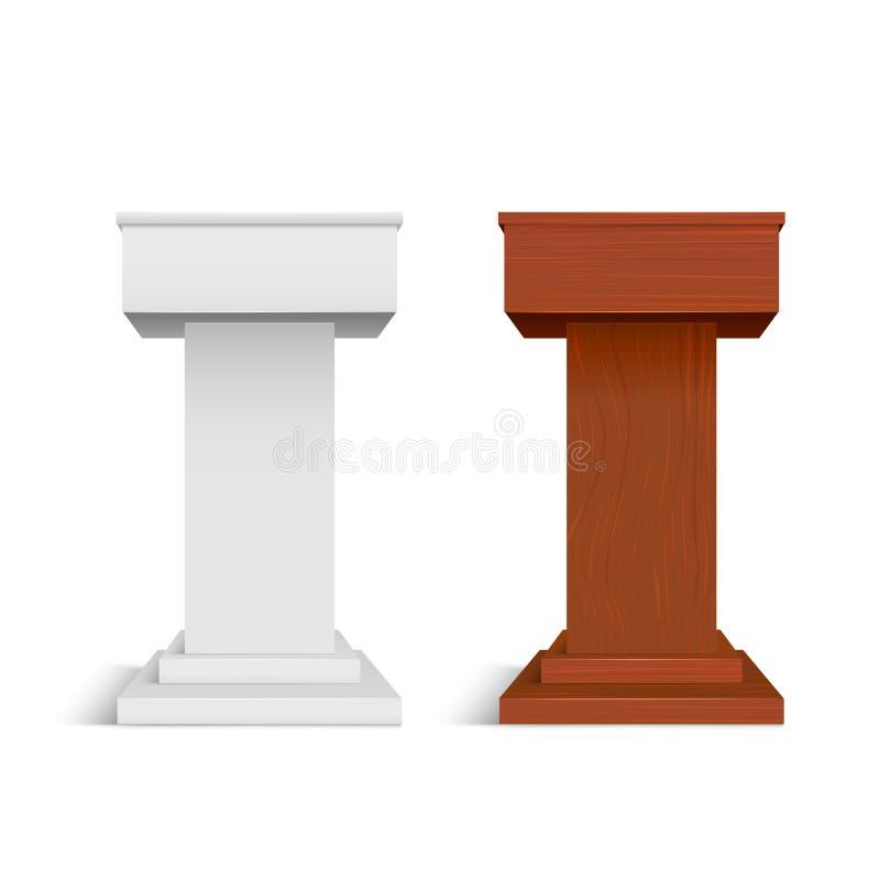 现实详细的3d白色空白和木阶段立场模板大模型集合 ?? 库存例证
