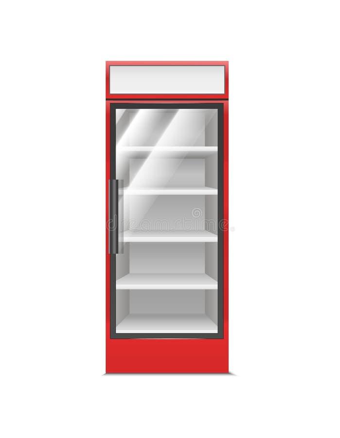 现实详细的3d红色超级市场冷冻机 ?? 向量例证
