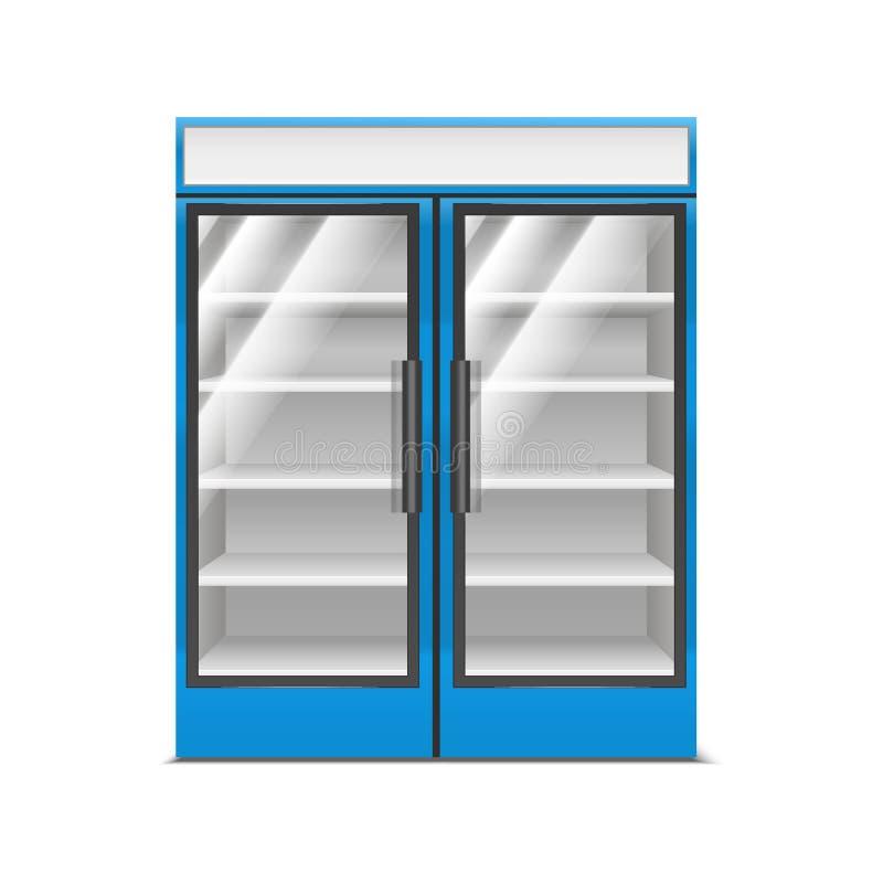 现实详细的3d蓝色超级市场冷冻机 ?? 皇族释放例证