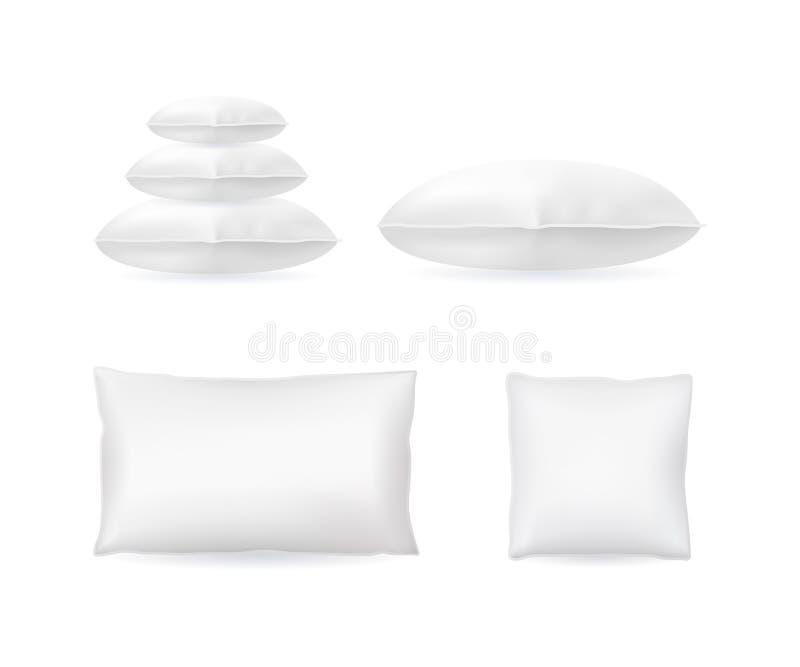 现实详细的3d设置的模板空白白色枕头嘲笑 向量 库存例证