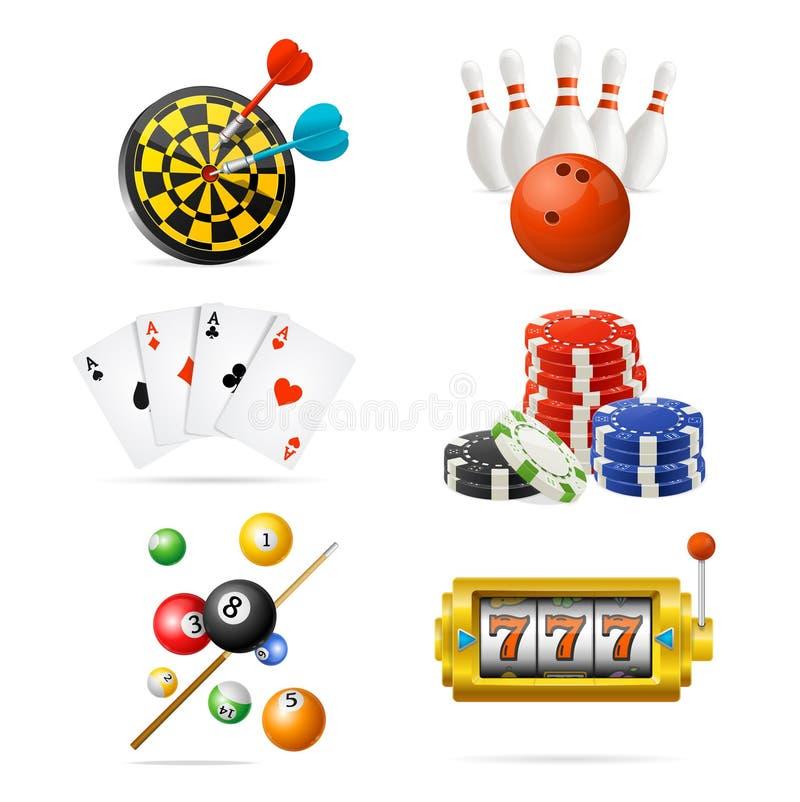 现实详细的3d赌博娱乐场体育和休闲比赛象集合 向量 向量例证