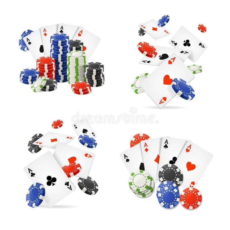 现实详细的3d赌博娱乐场集合 向量 库存例证