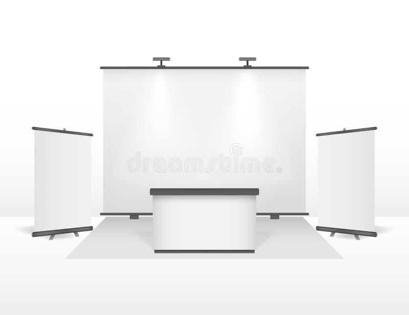 现实详细的3d陈列立场设计集合 向量 向量例证