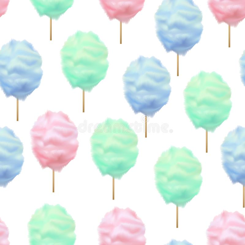 现实详细的3d颜色棉花糖无缝的样式背景 向量 库存例证
